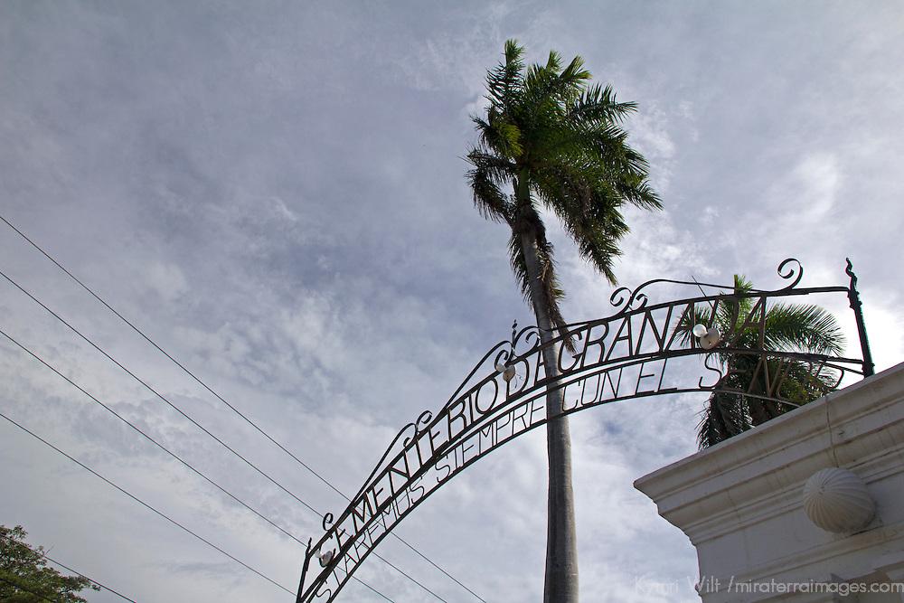Central America, Nicaragua, Granada. Cemetary of Granada Entrance.