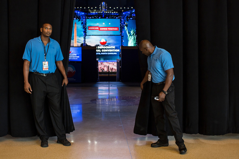 Workers guard an entrance at the Democratic National Convention on Tuesday, September 4, 2012 in Charlotte, NC.