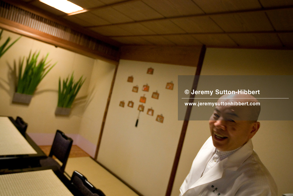 The exclusive private dining club/restaurant 'Mibu', owned by Chef Hiroshi Ishida (67yrs old, pictured), in Ginza, Tokyo, Japan, Saturday 23rd May 2009.