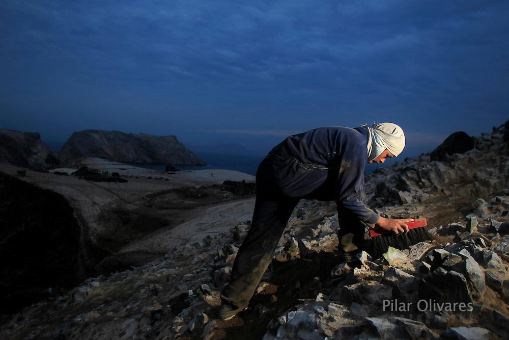 A worker scrapes stones to collect bird dung on the Ballestas island, south of Lima, October 10, 2011. Ballestas, as with other 21 islands along the Peruvian coast, are home of nearly 4 million migratory birds as guanays, boobies and pelicans which excrement make up the world's finest natural fertilizer. The bird dung, also known as guano, reached its greatest economic importance in the 19th century as a coveted resource, being exported to United States, England and France. Now, Peru hopes to benefit mostly small farmers with an annual production of 20 thousand tons, destined to boost organic agriculture, according to Agrorural, the Rural Agrarian Productive Development Program.