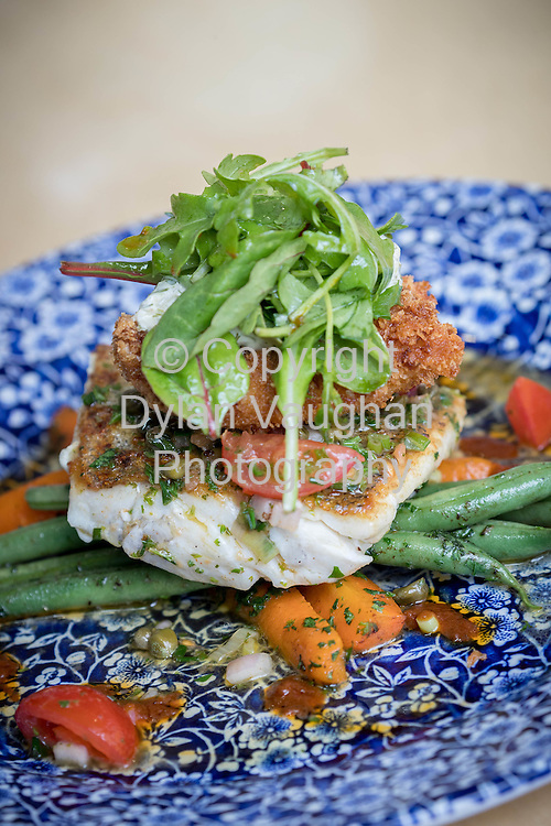 24-6-16<br /> <br /> The hake served with steamed vegetables, raw slaw and crebiche at STEF HANS in Thurles Co Tipperary.