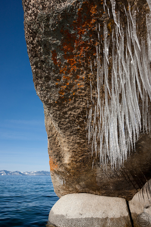 """Icicles on Tahoe Boulders 1"" - These icicle covered boulders were photographed from a kayak in the early morning at Sand Harbor, Lake Tahoe."