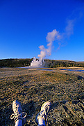 Image of Old Faithful Geyser at Yellowstone National Park, Wyoming, Pacific Northwest, model released