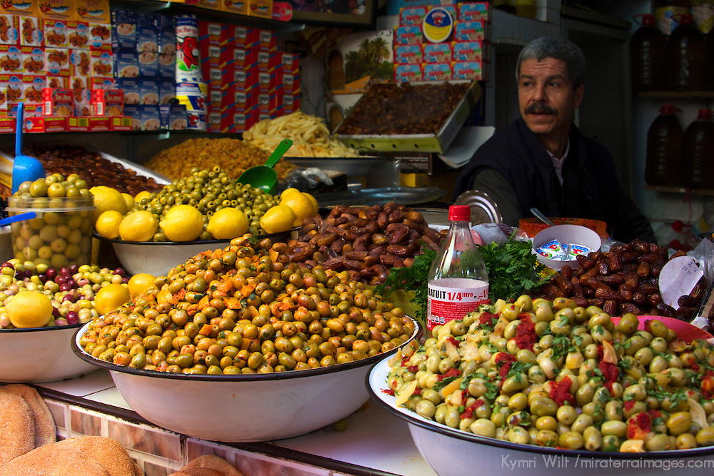 North Africa, Morocco, Fes. Moroccan olives in Fes souk.