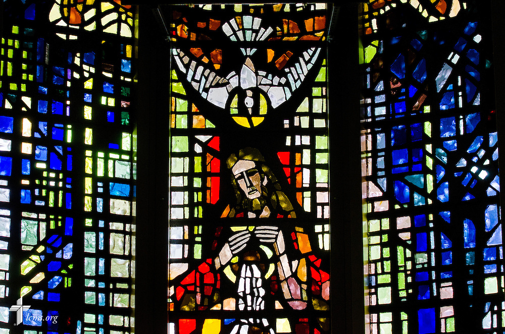 Stained glass in the Chapel of the Holy Trinity at Concordia University Ann Arbor on Thursday, July 3, 2014, in Ann Arbor, Mich. LCMS Communications/Erik M. Lunsford