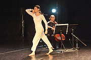 A new work by choreographer/director Jacky Lansley, Guest Suites is inspired by Bach's Cello Suites, six dance suites for unaccompanied cello. Featuring composer Jonathan Eato, & Audrey Riley plays live cello. At the Clore Studio, Royal Opera House, London 2012. Picture shows Huri Murphy.