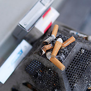 London, England - June 24, 2016: Cigarette Ends in an Ashtray