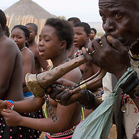 A man blows a bugle as girls dance for the Zulku king at the Enyokeni  Zulu royal palace in Nongoma, KwaZulu Natal, South Africa Sept 9, 2007. Thousands of virgin girls attend the annual Reed Dance at the Enyokeni palace from which the Zulu King Zwelethini may choose a bride. From nrext year, virgin testing or girls under 16 is to be made illegal in a new child protection law.  Photo Greg Marinovich / Bloomberg News