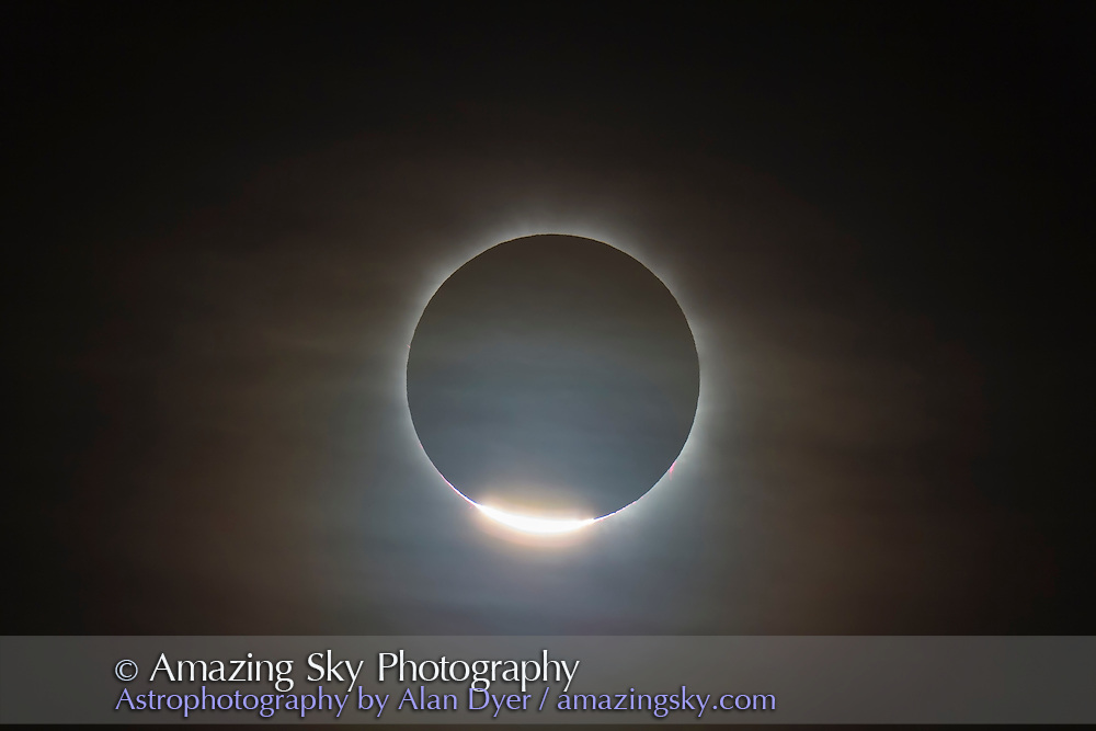The first diamond ring during the total eclipse of the Sun, November 14, 2012, from a site near Lakeland Downs, Queensland. Shot through the Astro-Physics 105mm Traveler f/5.8 refractor scope, tracked on the AP 400 mount, and with the Canon 60Da. 1/1000th sec at ISO 100.