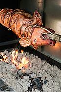 A pig roasting outside Toscana.