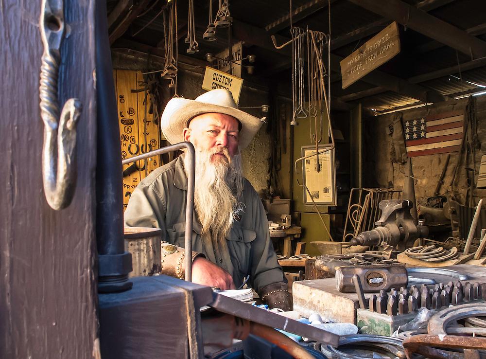 """My name is Grizz. I come from Idaho. I am the blacksmith of Tombstone, Arizona."""