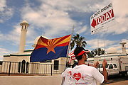 In conjunction with the Muslims for Life organization, members of the Mosque Yousuf in Tucson, Arizona, USA, hold a blood drive on September 11, 2011, in memory of the victims of the attacks on the World Trade Center in New York on September 11, 2001.