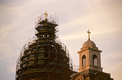 Catholic church steeple under renovations, Harrisburg, PA.