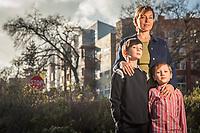Sabrina Shane with her sons, Sabriel (8) and Zakai (6) at Coggins Square Apartments, Walnut Creek, CA.  Bridge Housing, San Francisco, Bay area