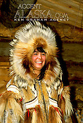 Alaska. Fairbanks. Cherylin Gho, dressed in authentic Yupik Indian fur parka, is a guide at the Chena Indian Village. MR.