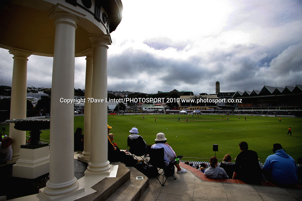 The view from the William Wakefield Memorial.<br /> HRV Cup Twenty20 cricket - Wellington Firebirds v Canterbury Wizards at Allied Nationwide Finance Basin Reserve, Wellington. Wednesday, 6 January 2010. Photo: Dave Lintott/PHOTOSPORT