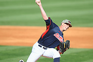 Ole Miss' Mike Mayers (28) pitches vs. Vanderbilt at Oxford-University Stadium Stadium in Oxford, Miss. on Saturday, April 6, 2013. Vanderbilt won 2-1.