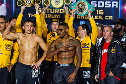 """INGLEWOOD, CA - MAY 15: Undefeated WBA middleweight champion Gennady """"GGG"""" Golovkin  (32-0-0, 29 KOs) and  Contender Willie Monroe Jr. (19-1-0, 6 KOs) stopped the scale at 159lbs and 160lbs respectively.  For their bout Golovkin vs Monroe on May 16, 2015 at the Forum in Los Angeles, California and telecast on HBO Word Championship Boxing beginning at 10:00pm ET/PT. 2015 May 15. Byline, credit, TV usage, web usage or linkback must read SILVEXPHOTO.COM. Failure to byline correctly will incur double the agreed fee. Tel: +1 714 504 6870."""