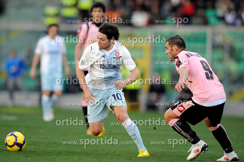 21.02.2010, Stadio Renzo Barbera, Palermo, ITA, Serie A, US Palermo vs Lazio Rom, im Bild Mauro Zarate Lazio, Antonio Nocerino Palermo, EXPA Pictures © 2010, PhotoCredit: EXPA/ InsideFoto / for Slovenia SPORTIDA PHOTO AGENCY.