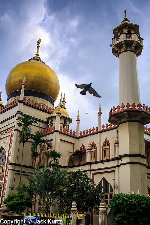 17 DECEMBER 2012 - SINGAPORE, SINGAPORE: A pigeon flies past the Sultan Mosque in Singapore. The Sultan Mosque is the focal point of the historic Kampong Glam area of Singapore. Also known as Masjid Sultan, it was named for Sultan Hussein Shah. The mosque was originally built in the 1820s. The original structure was demolished in 1924 to make way for the current building, which was completed in 1928. The mosque holds great significance for the Muslim community, and is considered the national mosque of Singapore. It was designated a national monument in 1975.     PHOTO BY JACK KURTZ