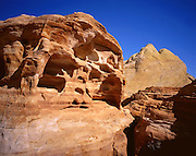 AA02002-02...NEVADA - Weathered sandstone at the White Domes area of Valley of Fire State Park.
