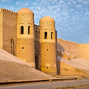 Khiva (Ichon-Qala). West Gate at sunset