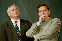 07.10.1995, Germany/Berlin:<br /> Oskar Lafontaine, SPD, Ministerpr&auml;sident Saarland und Gerhard Schr&ouml;der, SPD, Ministerpr&auml;sident Niedersachsen, Kundgebung auf dem Alexanderplatz zum 50. Jahrestag der Wiedergr&uuml;ndung der SPD<br /> IMAGE: 19951007-02/01-21<br />  <br />  <br />  <br /> KEYWORDS: Schroeder