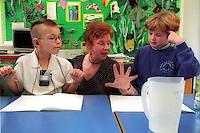 Female teacher working with deaf children in a special school.