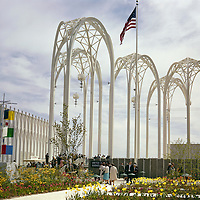 BI26,737-01...WASHINGTON - A 1962 photograph of Seattle's World Fair where Modern Gothic arches mark the entance to the United States Science Pavilion (now the Pacific Science Center).