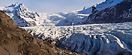 Skaftafell National Park measures about 4807 km2 (2884 mi²), making it Iceland's second largest national park. It is home to the valley Morsárdalur, the mountain Kristínartindar and the glacier Skaftafellsjökull (a spur of the Vatnajökull ice cap).