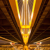 China, Hong Kong, View from beneath Ting Kau Bridge, a 1,177-meter (3,862 ft) long cable-stayed bridge spanning from the northwest of Tsing Yi Island and Tuen Mun Road across Rambler Channel to Lantau Island