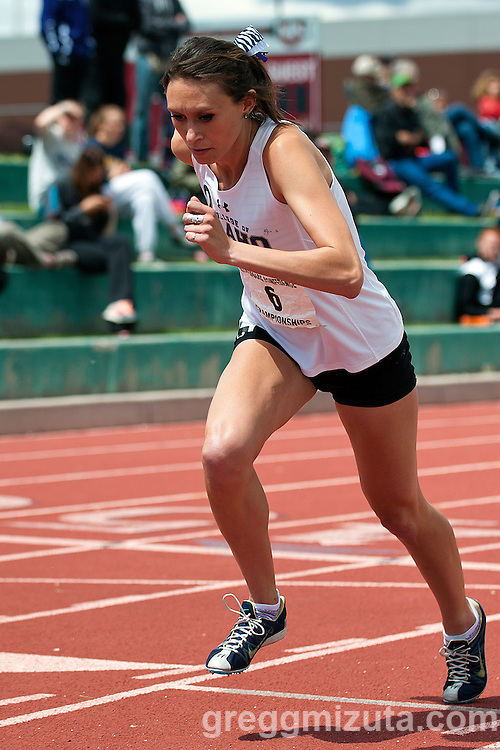 College of Idaho senior Jordan Engelhardt at the start of the  Cascade Conference Championships 800 meters run on May 10, 2014 at Northwest Nazarene University, Nampa, Idaho. Engelhardt placed eighth with a time of 2:19.86.