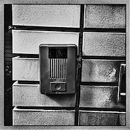 When you come to me, I watch you.  Video camera and audio security system at the front gate of my Tokyo residence.  Japan.