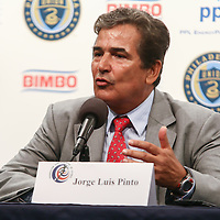 Costa Rica Manager Jorge Luis Pinto answers question during Ireland Costa Rica post game press conference Friday. June. 6, 2014 at PPL Park in Chester PA.