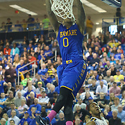 Delaware Guard Davon Usher (0) dunks the ball in the second half of a NCAA regular season Colonial Athletic Association conference game between Delaware and Drexel Sunday, Feb 23, 2014 at The Bob Carpenter Sports Convocation Center in Newark Delaware.
