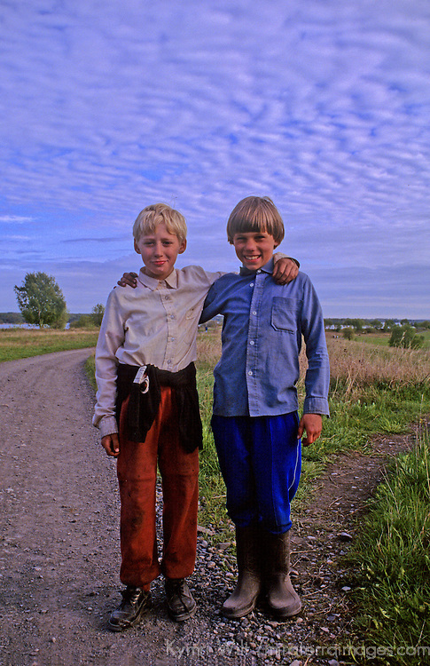 Europe, Russia, Kizhi Island. Two local boys of Kizhi.