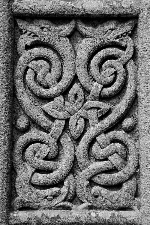 Europe, Ireland, Glendalough. Cletic Patterns on Cross at Glandalough.