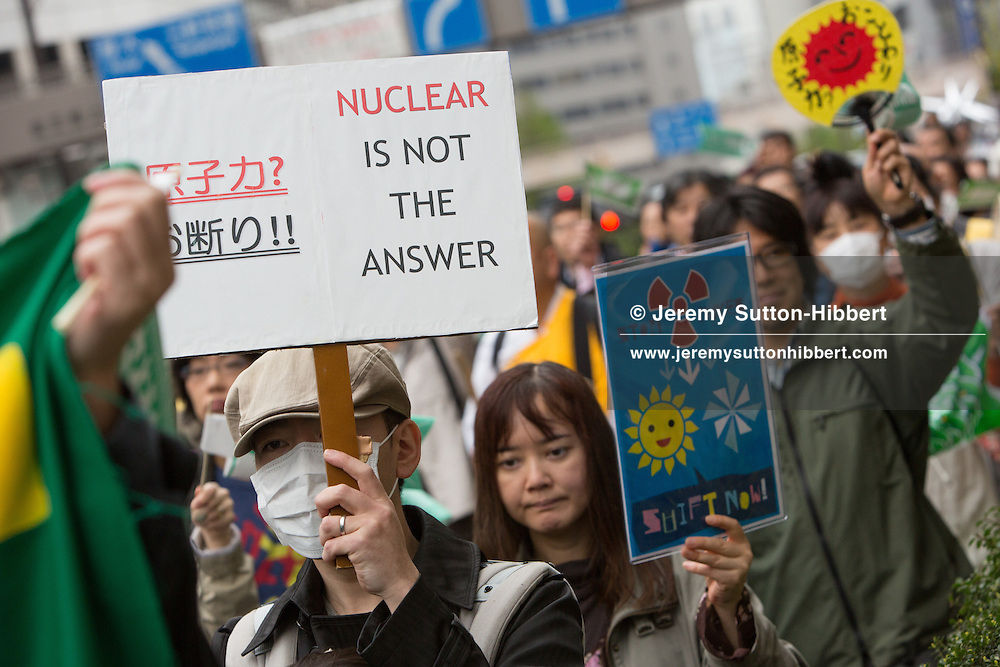 Anti-nuclear demonstration through the streets of Shibuya district, in Tokyo, Japan on Sunday 22nd April 2012.