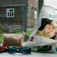 A women's belongings sit on a windowsill in Siberia