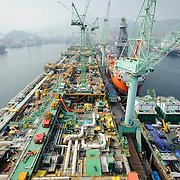 Progress on the Shell Prelude FLNG facility at Samsung Heavy Industries shipyard on Geoje Island, South Korea, on Thursday, June 19, 2014. (Ben Weller/AP/Shell)