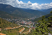 BU00015-00...BHUTAN - View of the northrn end of the capital city of Thimphu from the site of the Buddha Dordenma.