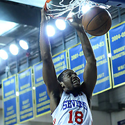Delaware 87ers Forward Damian Saunders (18) dunks the ball in the first half of a NBA D-league regular season basketball game between the Delaware 87ers (76ers) and the Maine Red Claws (Boston Celtics) Friday, March. 21, 2014 at The Bob Carpenter Sports Convocation Center in Newark, DEL