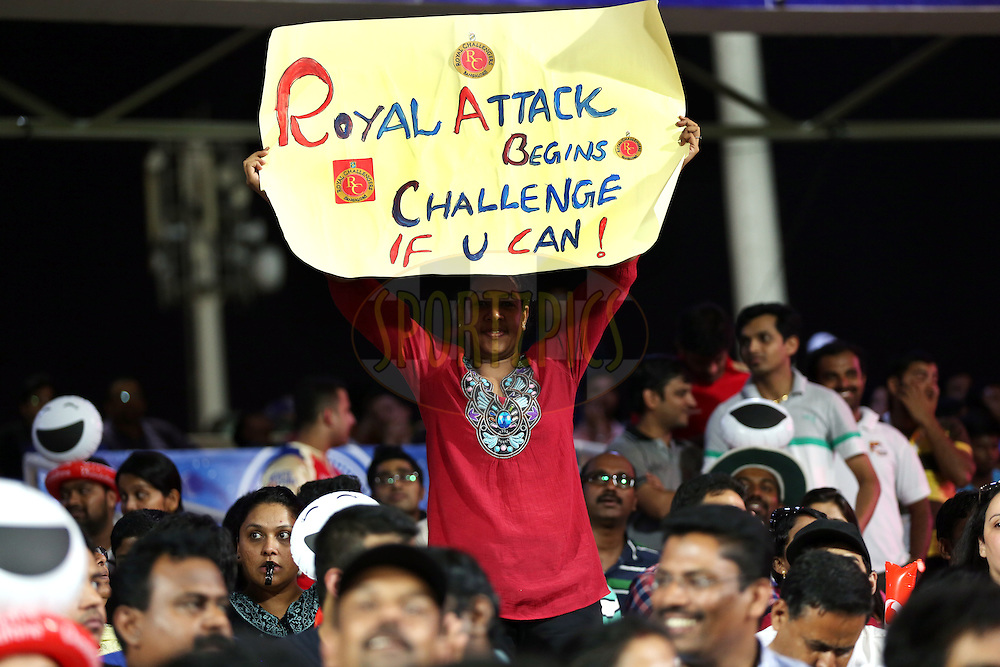 A RCB Fan during match 2 of the Pepsi Indian Premier League Season 7 between the Delhi Daredevils and The Royal Challengers Bangalore held at the Sharjah Cricket Stadium, Sharjah, United Arab Emirates on the 17th April 2014<br /> <br /> Photo by Sandeep Shetty / IPL / SPORTZPICS