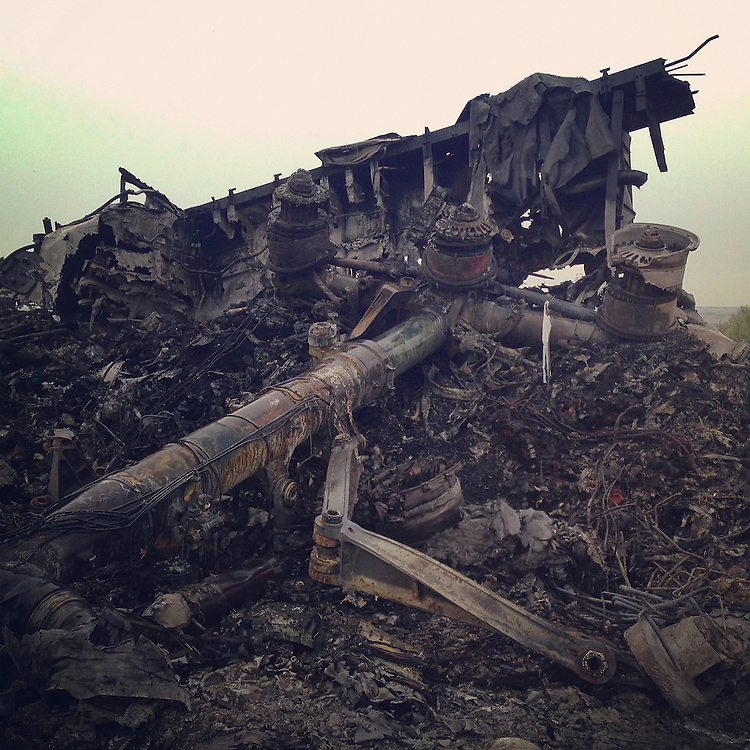 The wreckage of Malaysia Airlines flight 17 on Friday, July 18, 2014 in Grabovo, Ukraine.