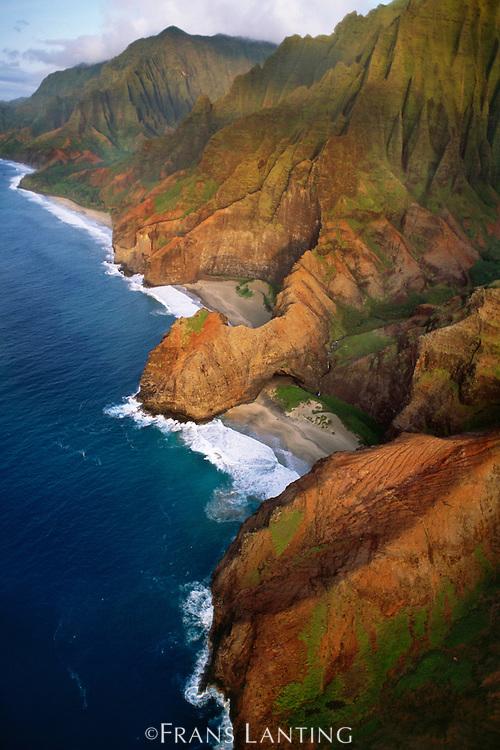 Na Pali coast (aerial), Kauai, Hawaii