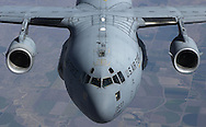 An air-to-air photograph of a C-17 Globemaster aircraft , Aug. 26, 2003. (Photo by Stacy L. Pearsall)