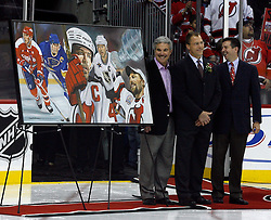 December 7, 2007; Newark, NJ, USA;  Former New Jersey Devils defenseman Scott Stevens (c) is honored by the team for his November 12, 2007 induction into the Hockey Hall of Fame before the Devils game against the Washington Capitals at the Prudential Center in Newark, NJ.