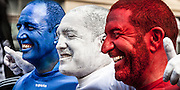 Portrait of French supporters covered in face paint, Rugby World Cup, RWC 2011 Auckland, New Zealand.