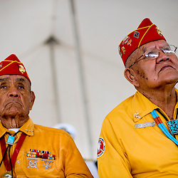 073109      Brian Leddy.Navajo Code Talkers George Willie and Guy Clauschee listen during a ceremony on Friday afternoon. Chevron donated over 200 acres of land to the Code Talker Association to help build a museum.