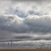 Wind turbines on Interstate 40 east of Amarillo, Texas, Texas Panhandle.